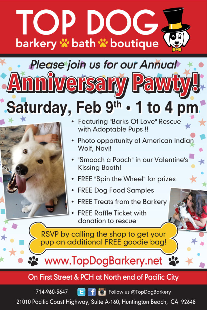 Top Dog Join Us For Our Annual Anniversary Pawty